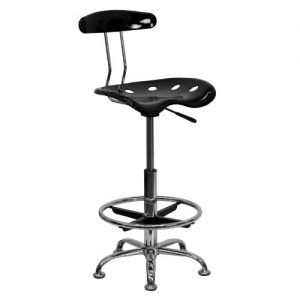 Flash Furniture LF-215-BLK-GG Vibrant Black and Chrome Drafting Stool