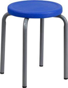 Stackable Stool with Blue Seat and Silver Powder Coated Frame by Flash Furniture